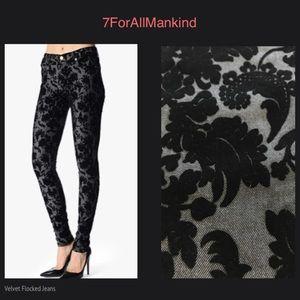 7 FOR ALL MANKIND Black Velvet Flocked Floral Skinny Jeans